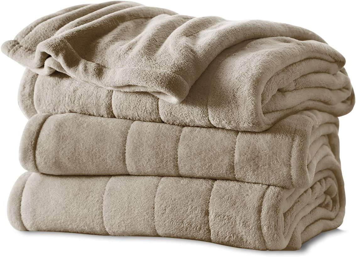 Amazon Com Sunbeam Heated Blanket Microplush 10 Heat Settings Mushroom Queen Bsm9kqs R772 16a00 Home Kitchen