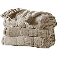 Sunbeam Microplush Heated Blanket with ComfortTech Controller, Queen, Mushroom