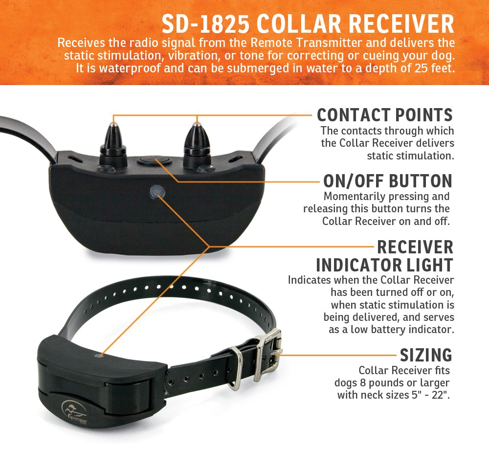 SportDOG Brand SportHunter 1825 Remote Trainer - 1 Mile Range - Waterproof, Rechargeable Dog Training Collar with Tone, Vibration, and Shock