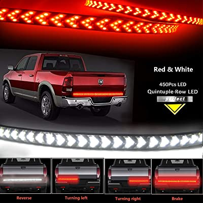"NBWDY 49""LED Tailgate Light-Five Row Red &White LED Truck Tailgate Light Bar- Solid Red Turn Signal, Red Brake Running, White Reverse Tail light Strip for Pickup Trailer SUV RV VAN Jeep Car: Automotive"