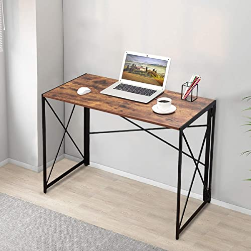 Computer Desk Office Desk Folding Laptop Table Home Desk 39.4inch Simple Study Desk Modern Home Office Game Table Easy to Assemble