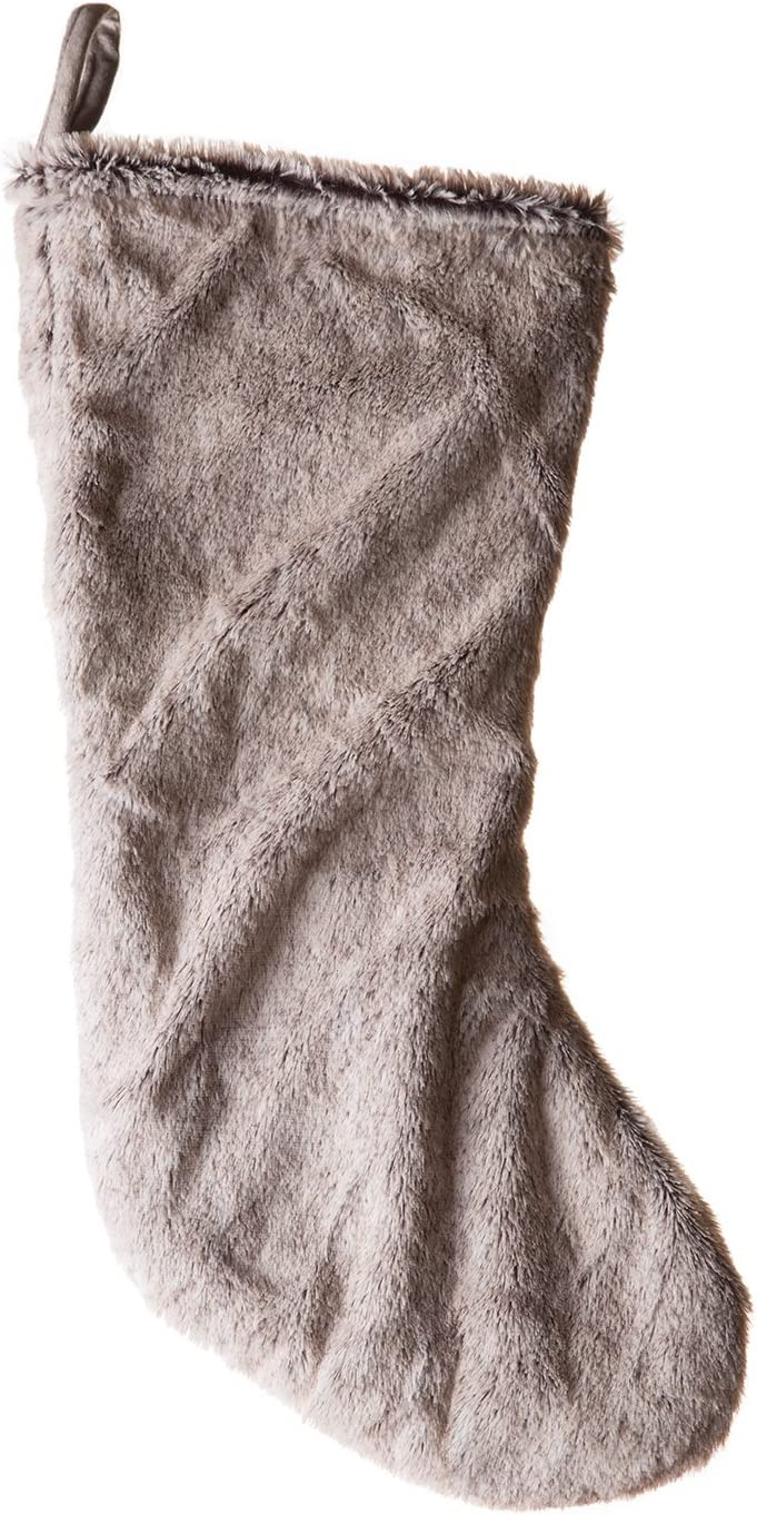 "NWT Furry 6/"" Christmas Mini Stocking Tan Faux Fur"