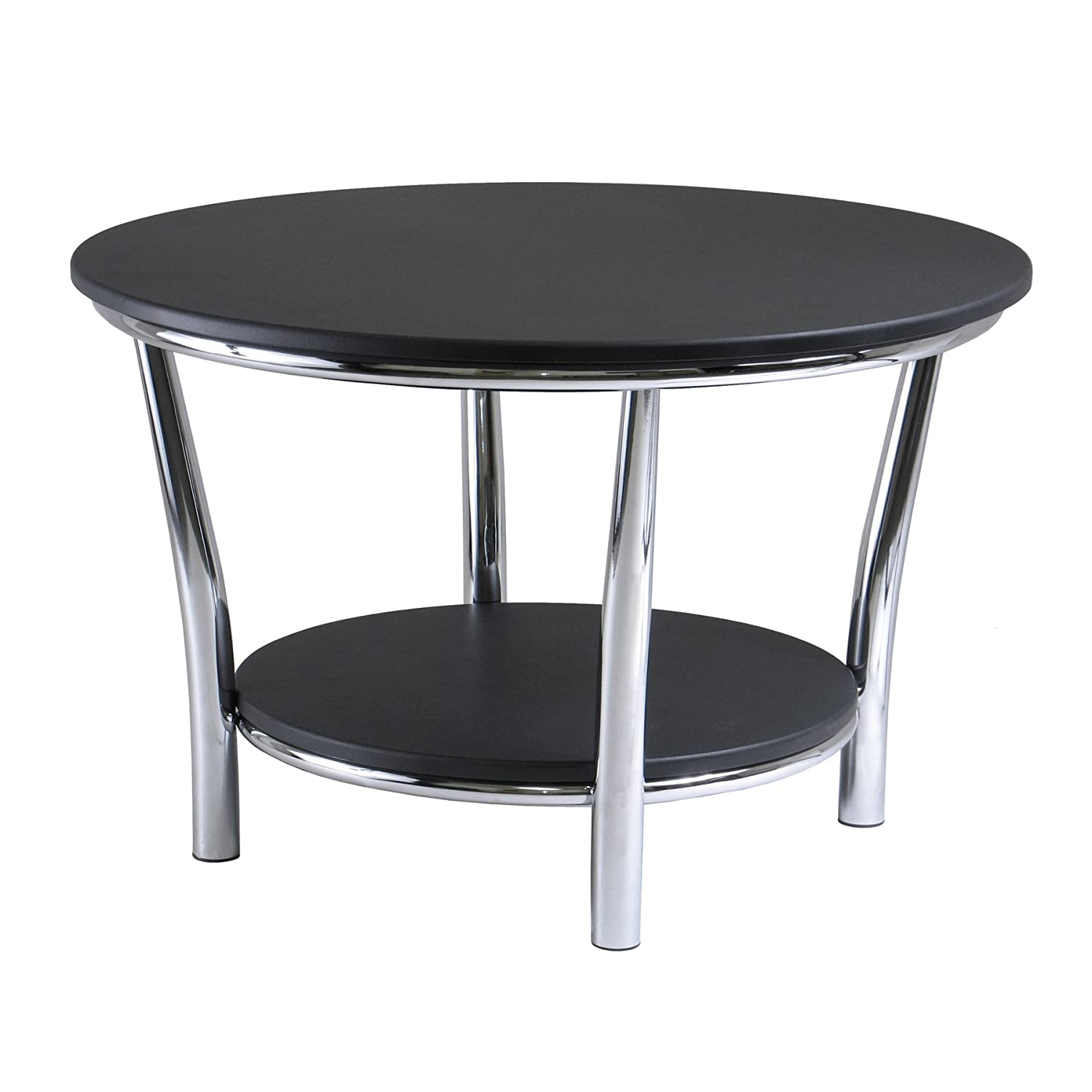 Amazon winsome wood maya round coffee table black top metal amazon winsome wood maya round coffee table black top metal legs kitchen dining geotapseo Images