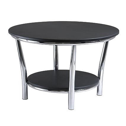 Great Winsome Wood Maya Round Coffee Table, Black Top, Metal Legs