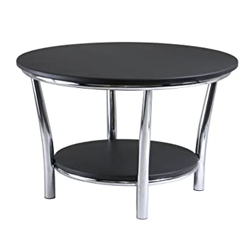 Winsome Wood Maya Round Coffee Table  Black Top  Metal Legs. Amazon com  Winsome Wood Maya Round Coffee Table  Black Top  Metal