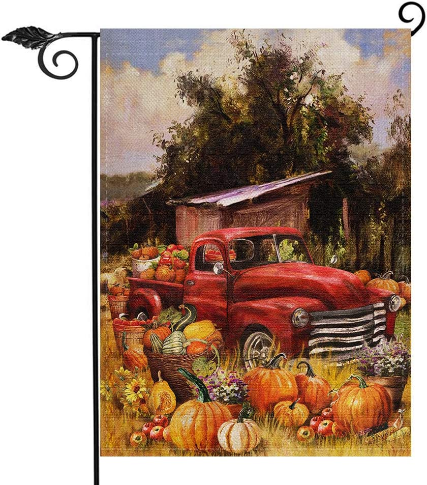 Hzppyz Fall Harvest Vintage Red Truck Garden Flag, Home Decorative Welcome Autumn House Yard Pumpkins Outdoor Decorations, Country Farm Outside Decor Seasonal Small Farmhouse Flag Double Sided 12 x 18