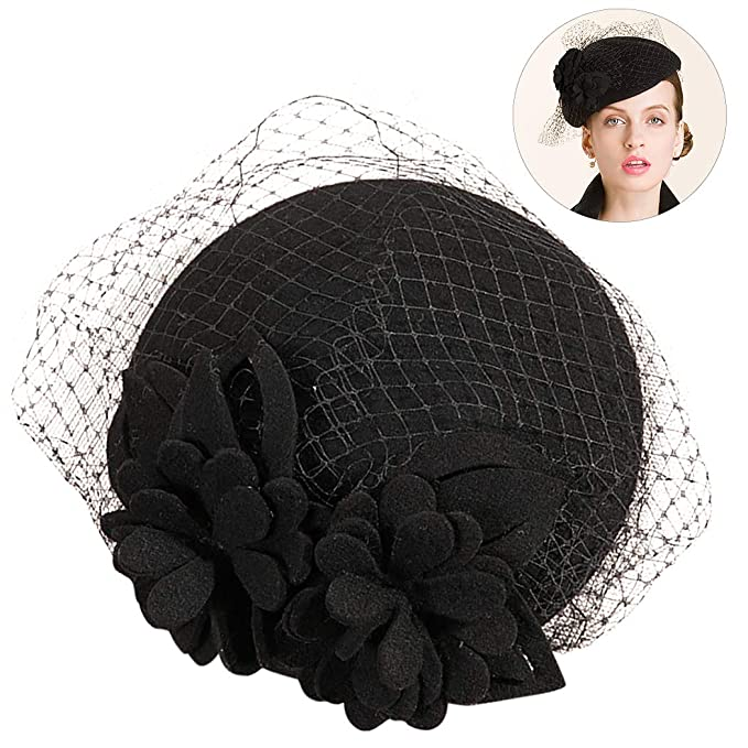 21574d9b520 Image Unavailable. Image not available for. Color  Women s Beret Hat  Elegant Floral Veil ...