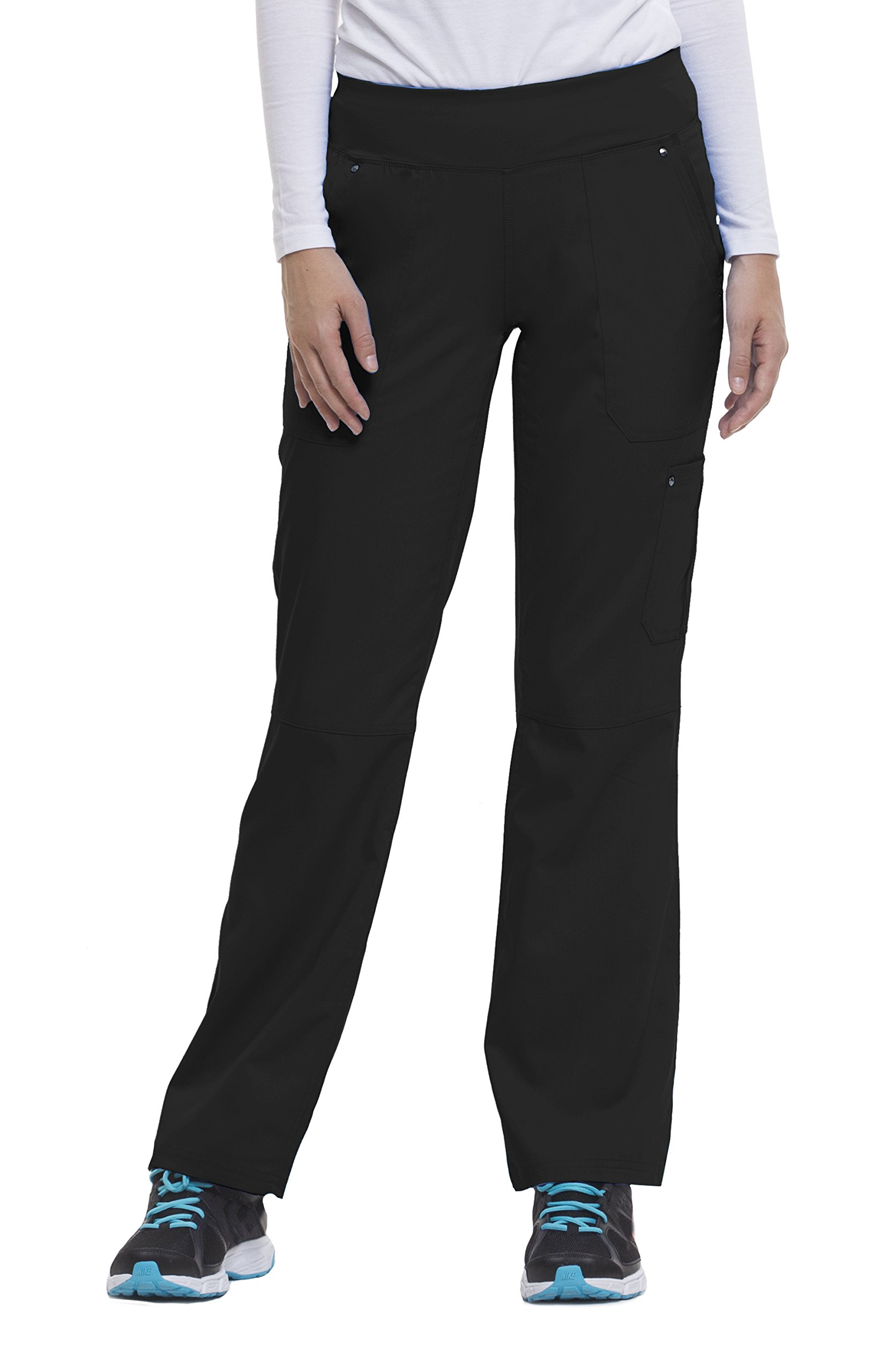 Purple Label Yoga Women's''Tori'' 9133 5 Pocket Knit Waist Pant by Healing Hands Scrubs- Black- Medium