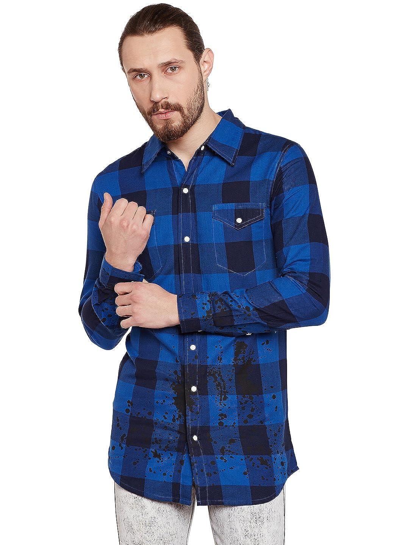 Buy Fugazee Men S Splatter Paint Checkered Shirt Black At Amazon In
