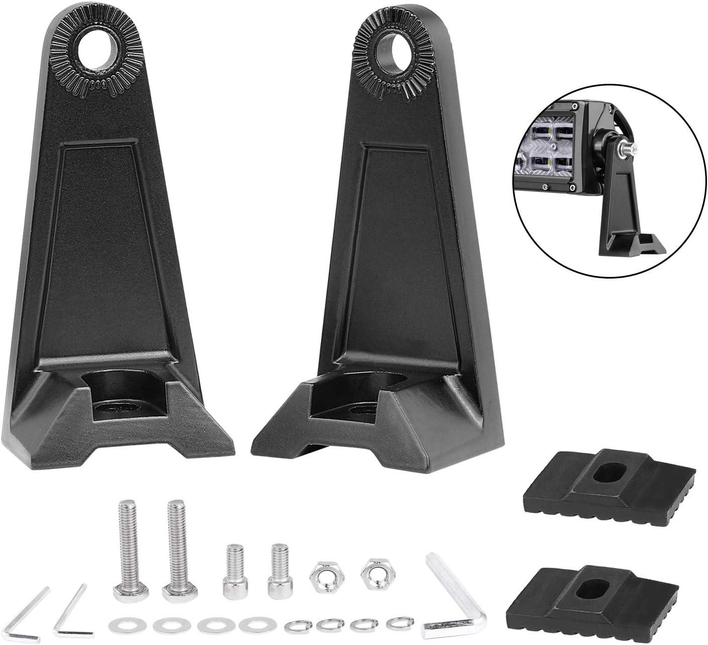 2pcs LED Work Light Bar Car Side Mounting Bracket Heavy Duty Holder Aluminum Kit