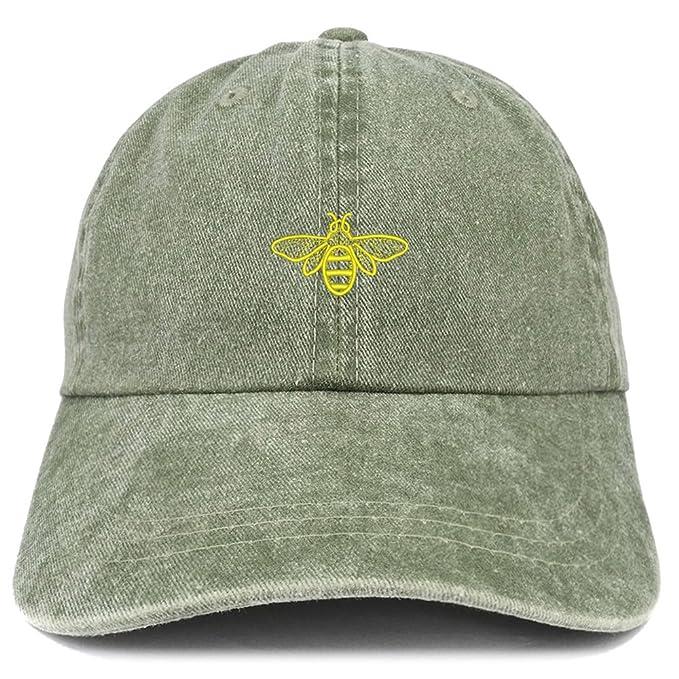 Trendy ropa tienda abeja bordado algodón lavado gorra ajustable ...