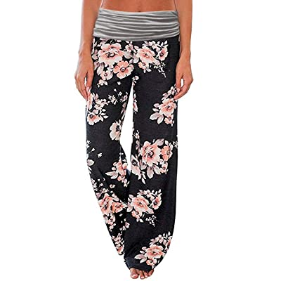 ROSA JUNIO Comfy Pajama Pants for Women Casual Drawstring Floral Palazzo Lounge Pants Stretch Wide Leg Bottoms
