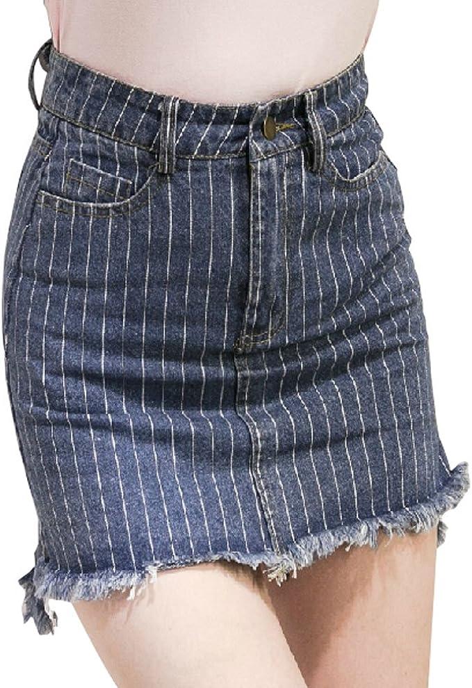 Azul oscuro de la falda del dril de algodón de las mujeres de las ...