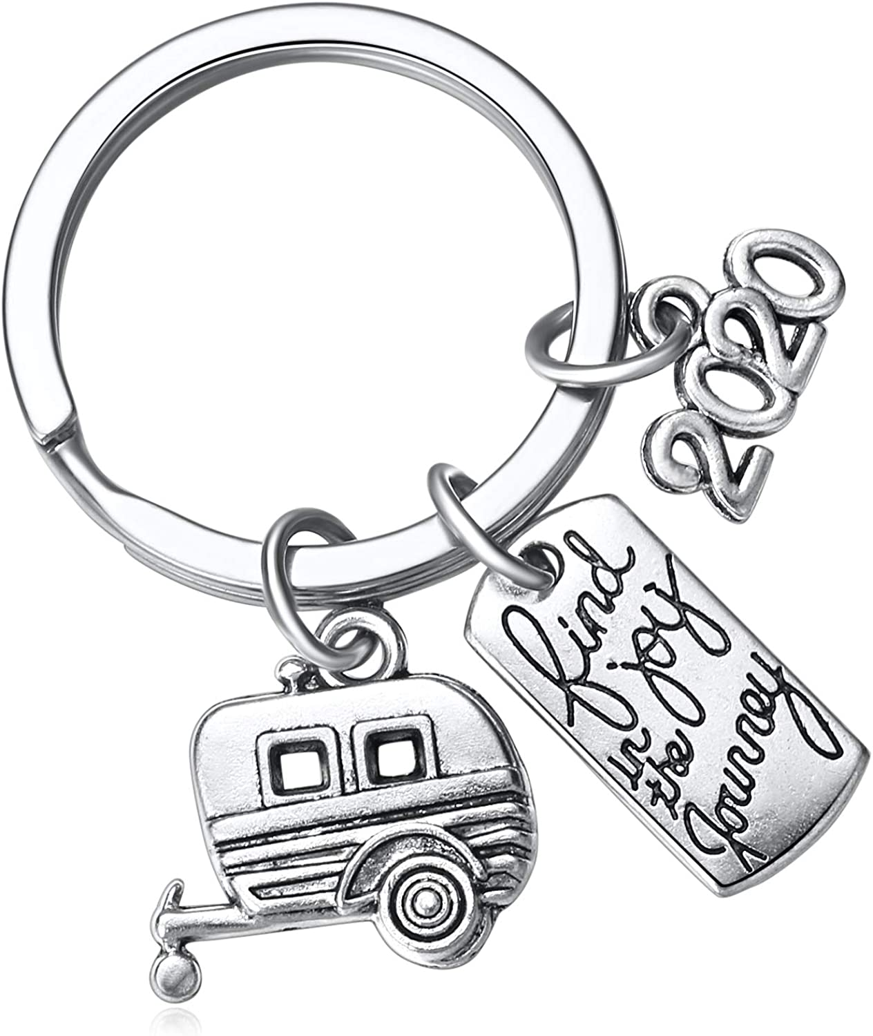 2020 Find Joy in The Journey Keychain Happy Camper RV Trailer Key Chain Enjoy Retirement Keyring for Boss and Coworker Gift at  Men's Clothing store