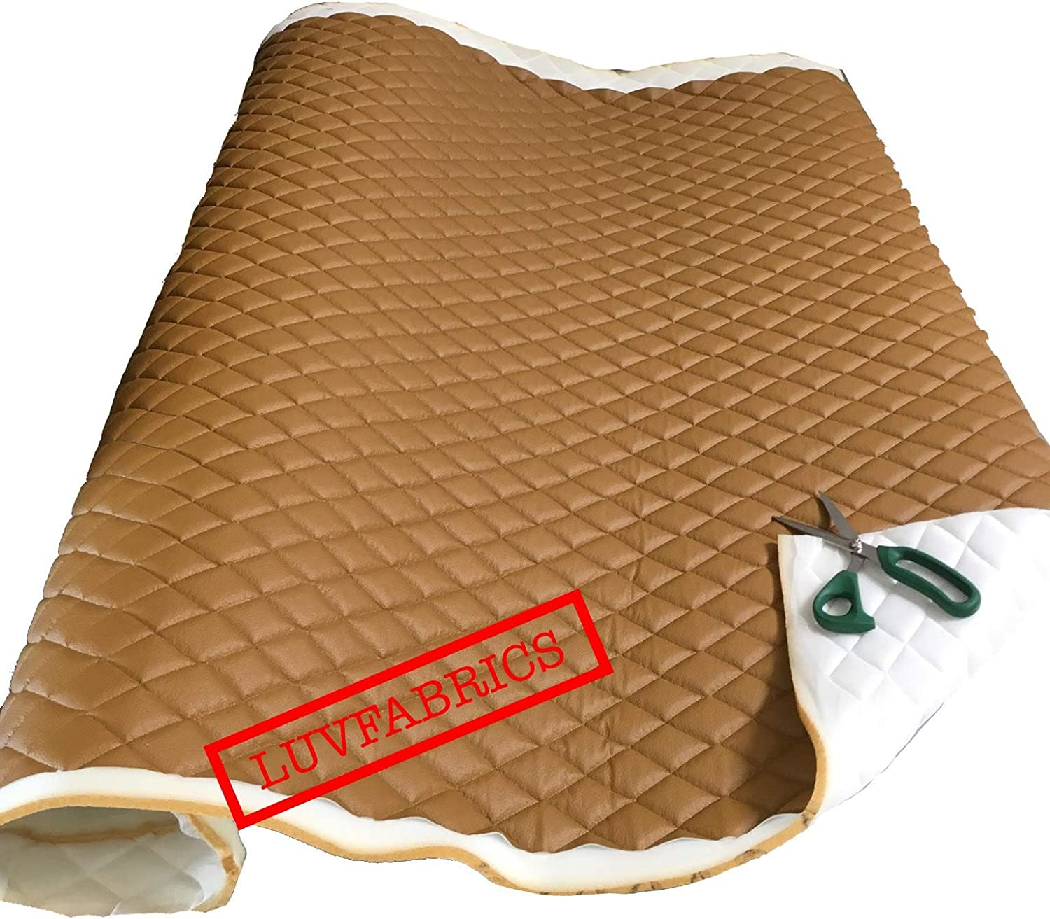 Diamond Quilted Textured Soft Vinyl Faux Leather Upholstery Fabric Brown Colour