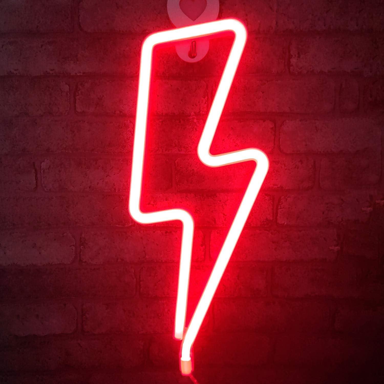 Forma de rayo LED Luz de neón Arte decorativo Luces decorativas Decoración de la pared para la habitación del bebé Suministros para el banquete de boda de Navidad (luz roja)