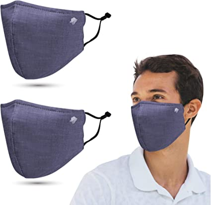 5 Pack Black White Resuable Fabric Cloth Face Masks Navy Gray 3 layers