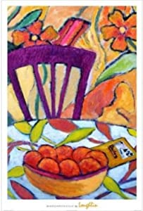 Buyartforless Margaritaville by Brendan Loughlin 36x24 Art Print Poster Still Life Interior Fruit Bowl on Table Bright Colorful Orange Red Purple Green