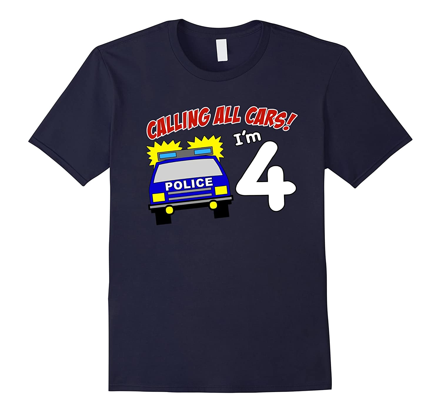 4th Birthday Police Car T Shirt - 4 Year Old Officer Tee-TD