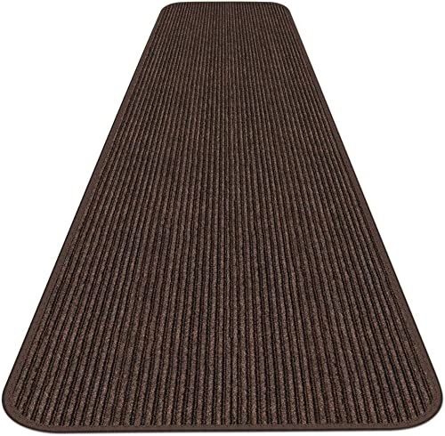 House, Home and More Indoor Outdoor Double-Ribbed Carpet Runner with Skid-Resistant Rubber Backing – Bittersweet Brown – 4 Feet x 50 Feet