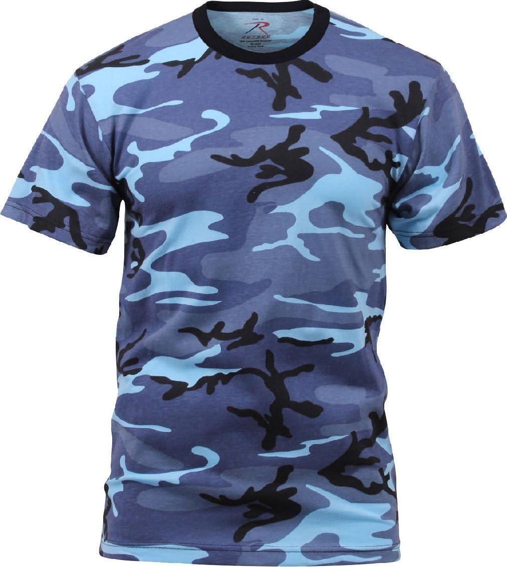 Camo Camiseta Militar Manga Corta Camiseta Militar Camuflaje Uniforme táctico Camiseta, S, Azul, (Sky Blue Camouflage): Amazon.es: Deportes y aire libre