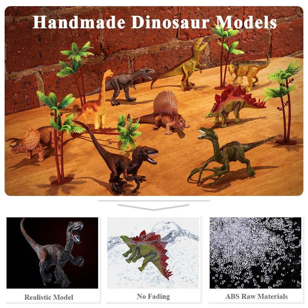 TEMI Dinosaur Toy Figure w/ Activity Play Mat & Trees, Educational Realistic Dinosaur Playset to Create a Dino World Including T-Rex, Triceratops, Velociraptor, Perfect Gifts for Kids, Boys & Girls by TEMI (Image #5)