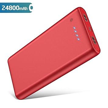 QTshine Batería Externa 24800mAh Power Bank Portatil con 2 Salidas USB Carga rápida máx. 2,1A para Móvil y Tablets, Ultra Capacidad y Muy Compacto ...