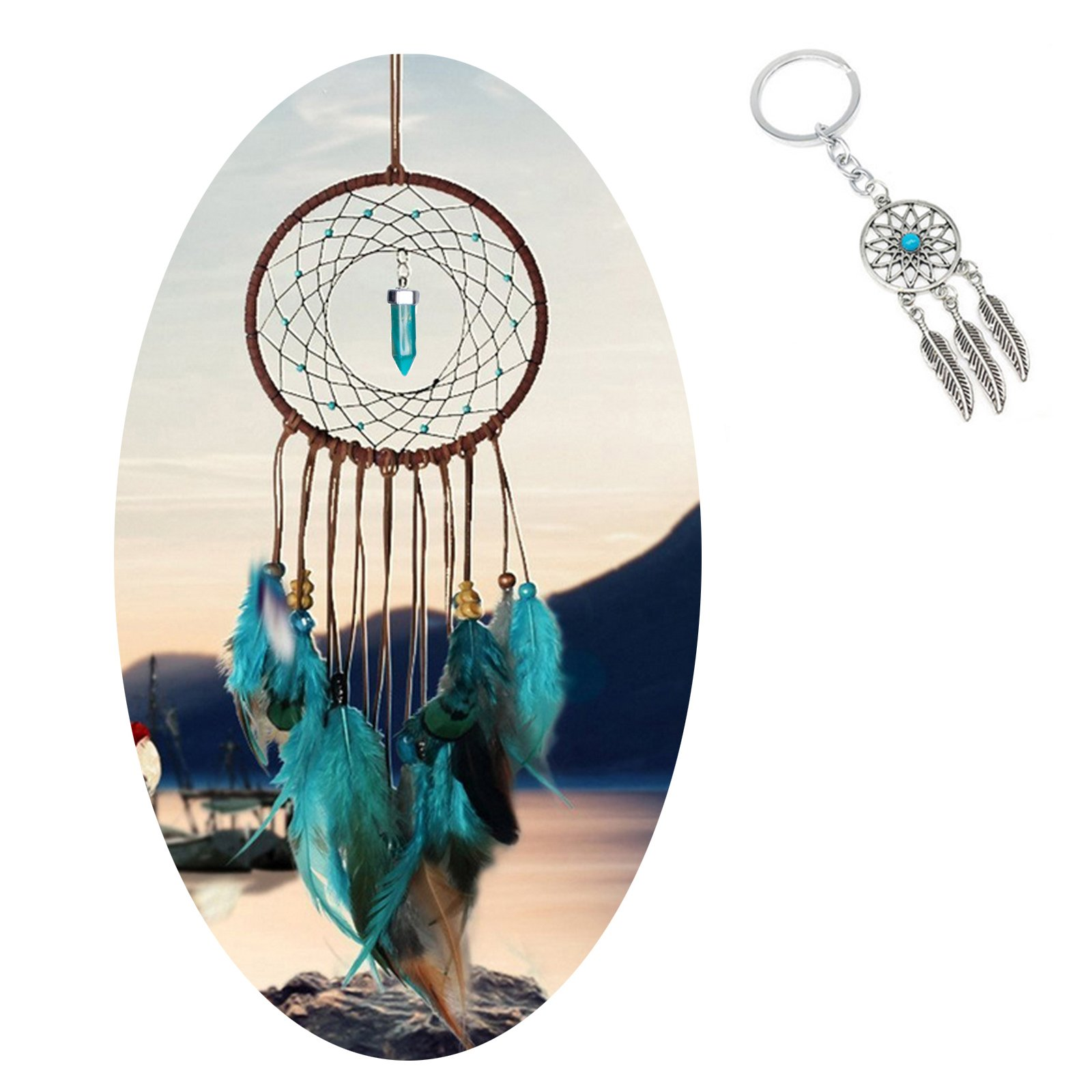 AWAYTR Forest Dreamcatcher Gift Handmade Dream Catcher Net with Feathers Wall Hanging Decoration Ornament (Turquoise with Feather) c