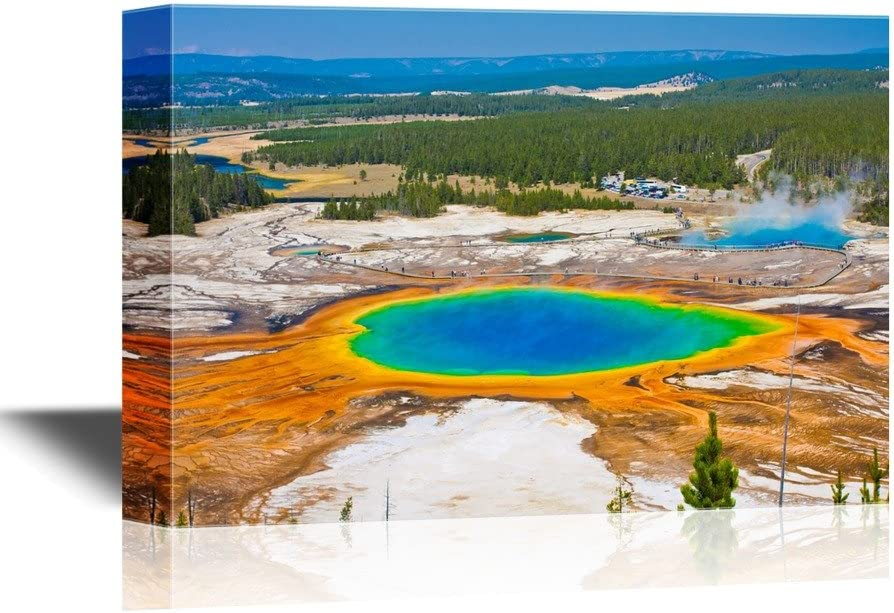 wall26 - USA Landmarks Canvas Wall Art - The World Famous Grand Prismatic Spring in Yellowstone National Park - Gallery Wrap Modern Home Decor | Ready to Hang - 24x36 inches