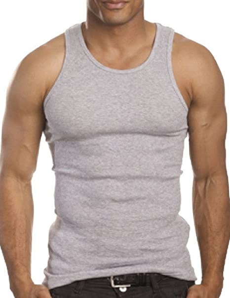 dd9d0e7a6fc98 Men Top Quality A-Shirt Wife Beater Ribbed 100% Premium Cotton Tank Top (