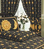 """66""""x72"""" Sun And Moon Black, Superior Quality 68 Pick Curtains + Matching Tie-Backs, BY HICO, Sun Crescent Moon Stars Space, Black Speckle Yellow Gold"""