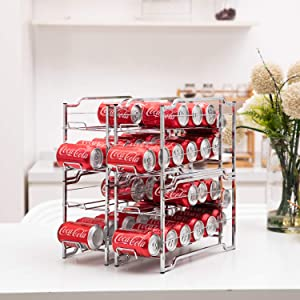 4 Pack Coke Rack Stackable Can Rack Organizer, Storage for 48 Cans Beverage Can Dispenser for Refrigerator Pantry Kitchen Cabinet, Chrome Finish