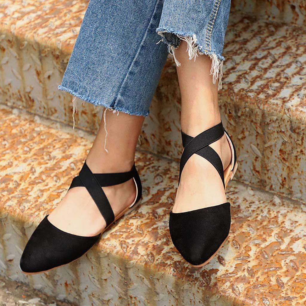 Pandaie Womens .. Sandals Women Ladies Fashion Pointed Toe Flat Leopard Casual Sandals Single Shoes