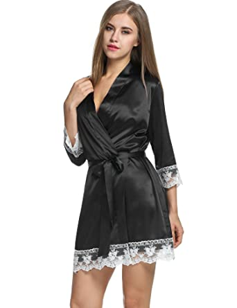 8a2ba89168 Avidlove Womens Satin Charmeuse Kimono Robe Knee Length Bridal Short  Bathrobe Black