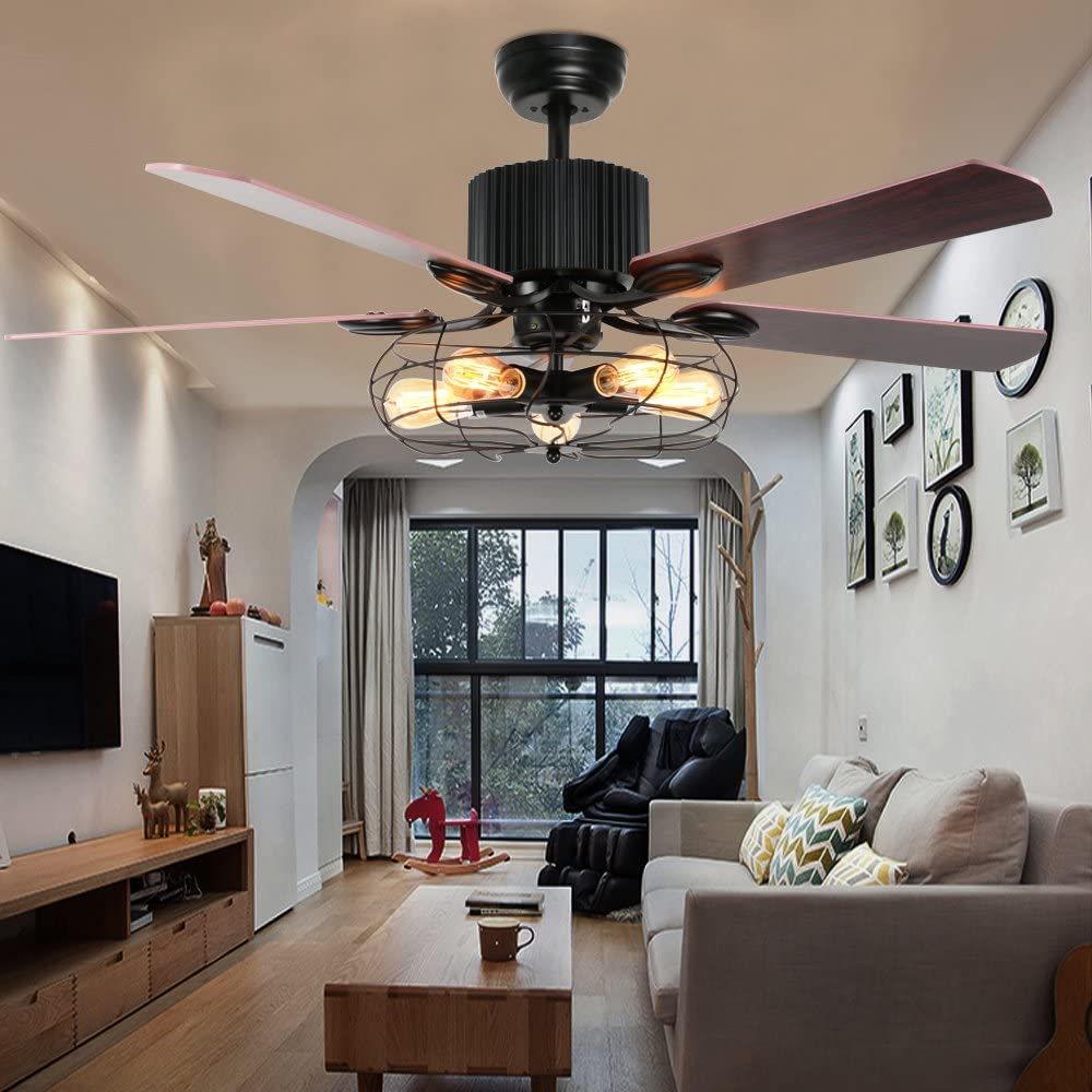 LuxureFan Industrial Retro Ceiling Fan Light Elegant for Restaurant Living Room with Create Iron Cage Cover and 5 Reversible Wood Leaves Remote Control of 52Inch