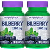 Piping Rock Bilberry Extract 1200 mg 2 Bottles x 100 Quick Release Capsules Dietary Supplement