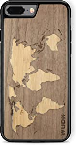Wooden Phone Case (World Map Walnut Inlay) Compatible with iPhone 7 Plus, iPhone 8 Plus