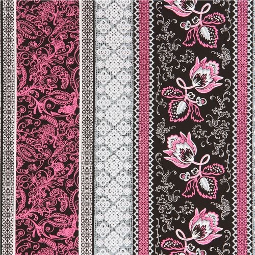 stripe black pink flower fabric Marseille Blank Quilting USA (per 0.5 yard ()