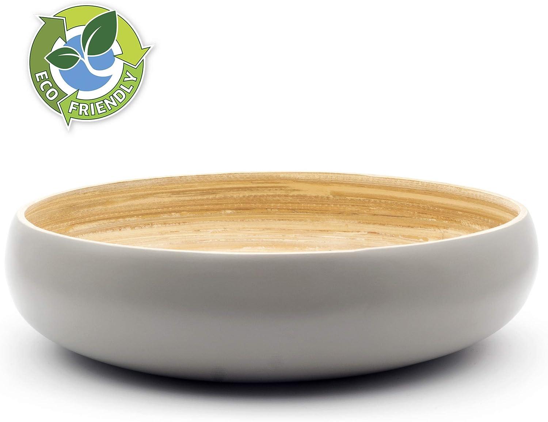 Cuenco de Madera para Servir Ensaladas Ensaladera Elegante Dehaus/® Gran Frutero de Cocina de Bamb/ú de 30 cm Bol Grande Redondo para Pasta Moderna Cesta de Madera para el Pan Gris