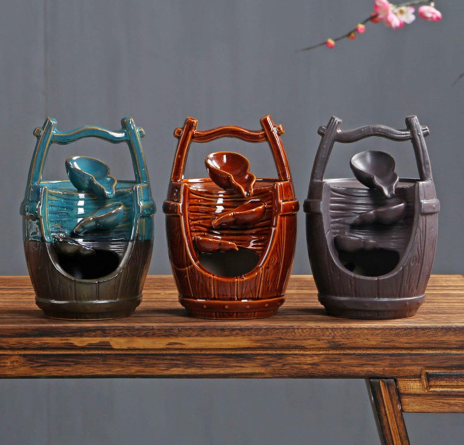 Ceramic Handicraft Ornaments Waterfall Backflow Incense Burner Home Office Decor Incense Censer Holder +20pcs Incense Cones,with 20pcs Mixed-B by Deep Palpitation incense holders (Image #4)