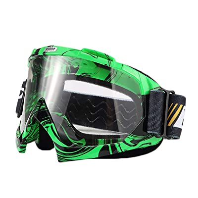 ATV Cycling Goggles Motorcross Motorcycle Safety Glasses for Women Men Youth Shatterproof Anti-UV Dustproof Soft Sponge Padded Dirtbike Racing Snowboard Ski Goggle Green Black-Clear Lens KG10: Automotive