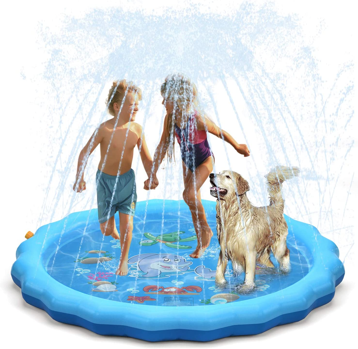 """QPAU Splash Pad, 68"""" Sprinkler for Kids Dogs, Kiddie Baby Shallow Pool,Outside Toys Water Toys for Kids, Outdoor Toys for Toddlers Age 3-5 (Blue): Toys & Games"""