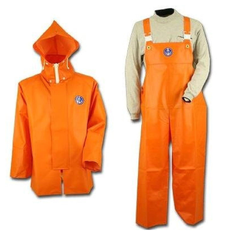 【上下セット販売】水産マリンレリー  上着パーカー  胸付きズボン オレンジ 3L 漁師専用レインスーツ B00PENQM2S