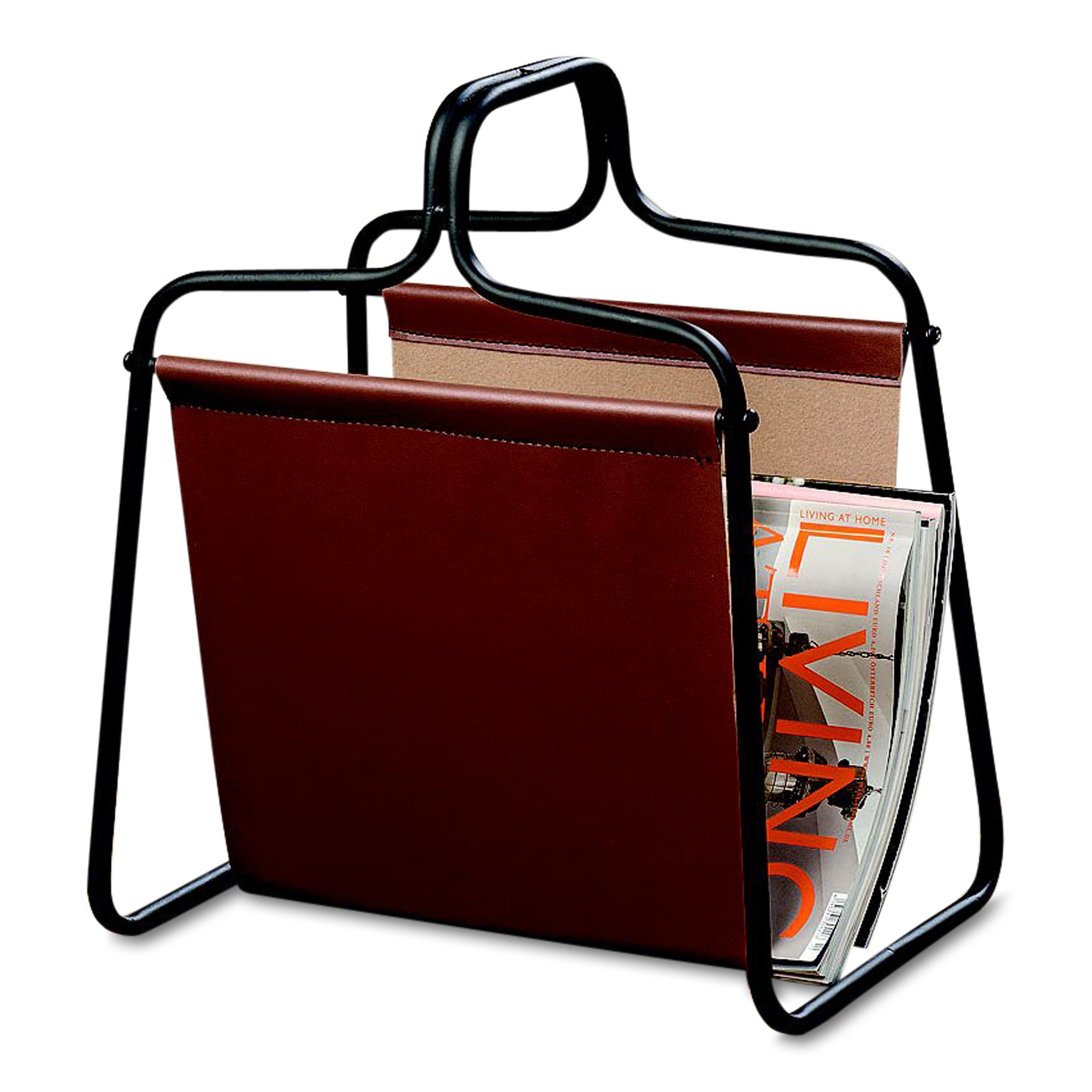 Whole House Worlds The Chelsea Magazine Holder Rack, Open Black Metal Frame, Brown Faux Leather Sling, Over 1 Ft Tall, (13 1/2 L x 9 3/4 W x 15 3/4 H Inches) By WHW