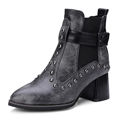 Rivet Punk Combat Boots For Women Metal Buckle High-Heel Booties Ankle Boot Dress Shoes For Woman