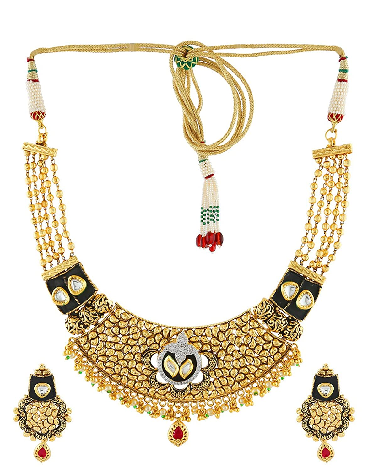 Anuradha Art Golden Finish Styled With American Diamond Stone Wonderful Traditional Necklace Set For Women/Girls
