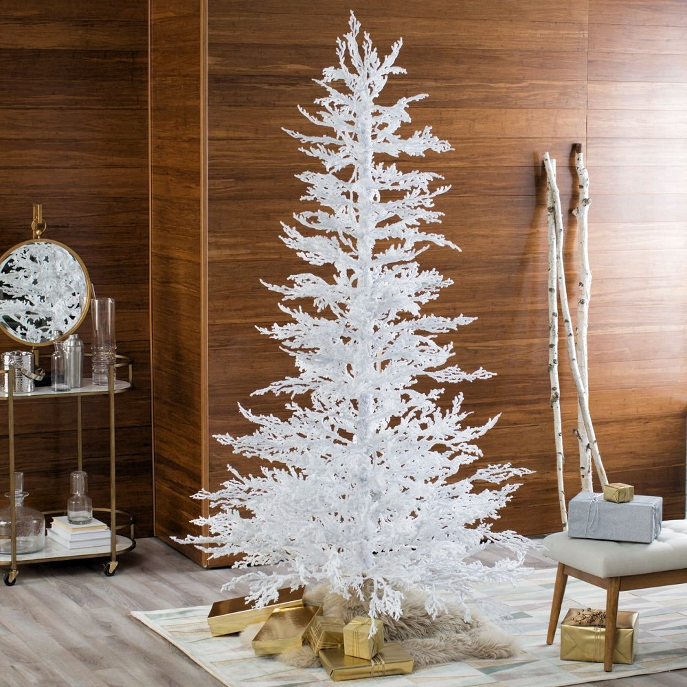 Artificial Christmas Tree. Fake Xmas Pine Tree With Lush Needles, White, Slim, Graceful Branches Looks Unusual & Original. Great For Indoor, Holiday Season Party Decor & Festive Mood. (7.5H Foot)