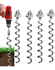 Earth Tite Powerful Spiral 18 inch Ground Anchor-Set of 4-10 Sec Install Using Drill. Outdoor Galvanized Anchors - Last 20 yrs In Ground Trampoline Anchors for Securing Sheds, Carports Swingset
