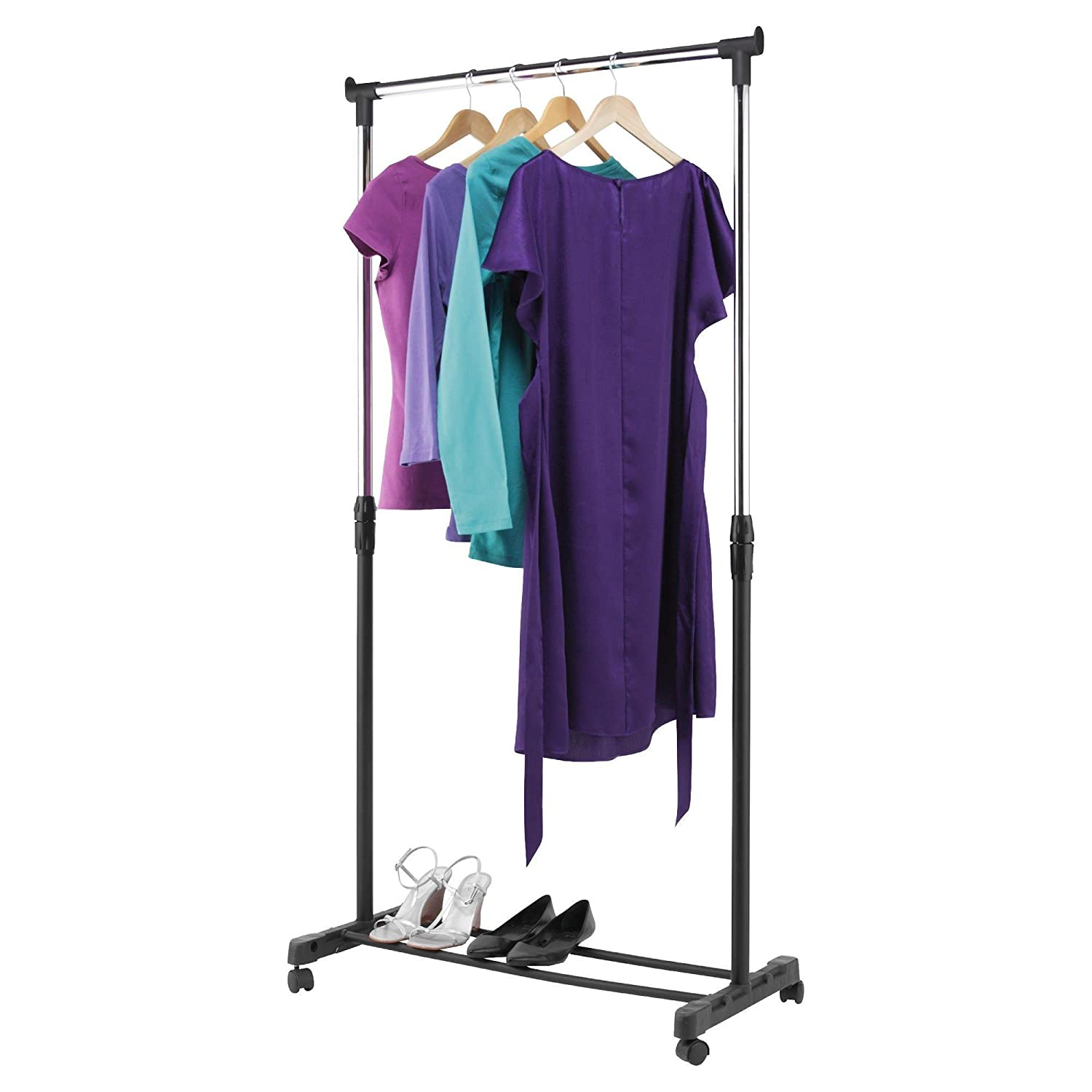 15KG S//STEEL HANGING RAIL ADJUSTABLE DOUBLE CLOTHES HANGING RAIL STAND BEDROOM