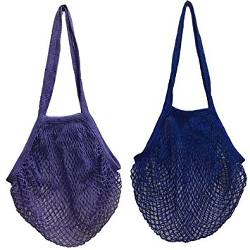 2 bolsas de malla de algodón lavable, para compra o como bolso de mano, portátiles, reutilizables, con asa larga para llevar al hombro, algodón, ...